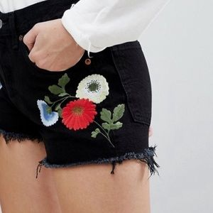 Levi's 501's Ani Embroidered Shorts Floral